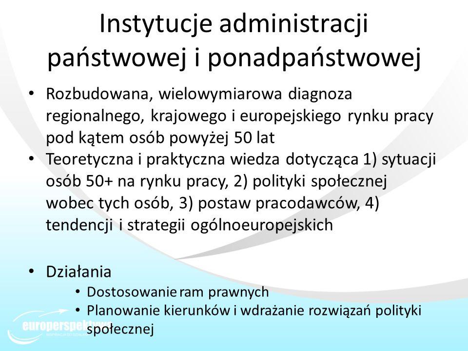 Instytucje administracji państwowej i ponadpaństwowej Rozbudowana, wielowymiarowa diagnoza regionalnego, krajowego i europejskiego rynku pracy pod kąt