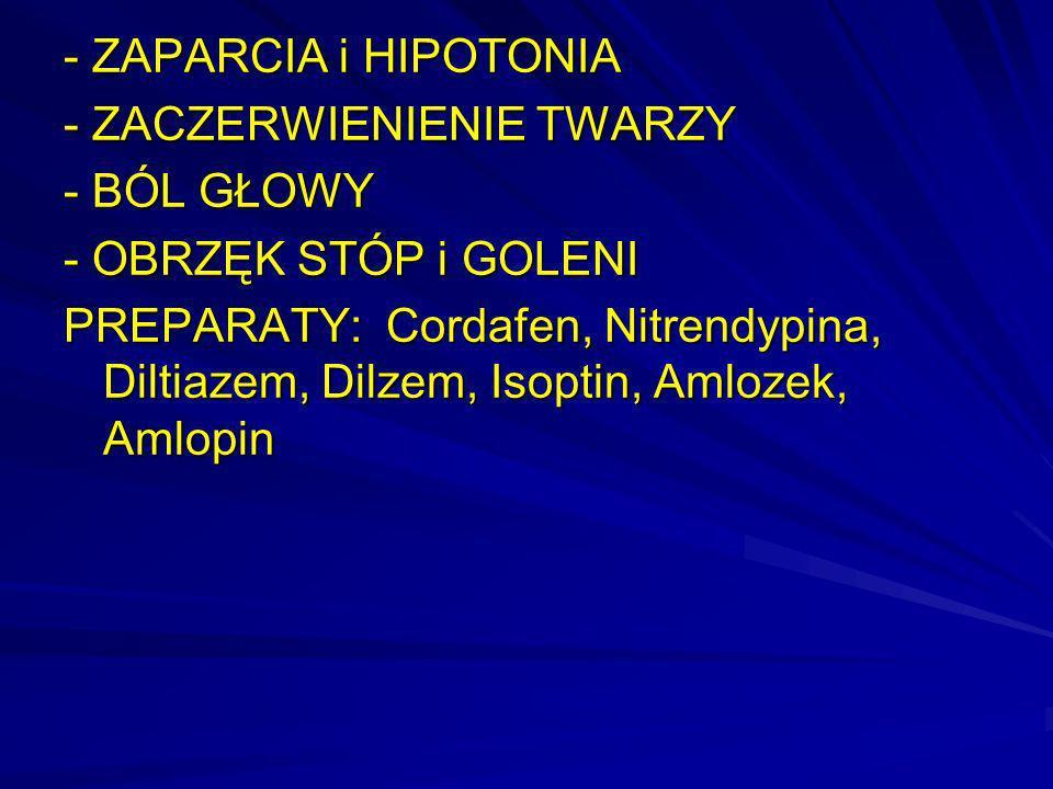 - ZAPARCIA i HIPOTONIA - ZACZERWIENIENIE TWARZY - BÓL GŁOWY - OBRZĘK STÓP i GOLENI PREPARATY: Cordafen, Nitrendypina, Diltiazem, Dilzem, Isoptin, Amlo