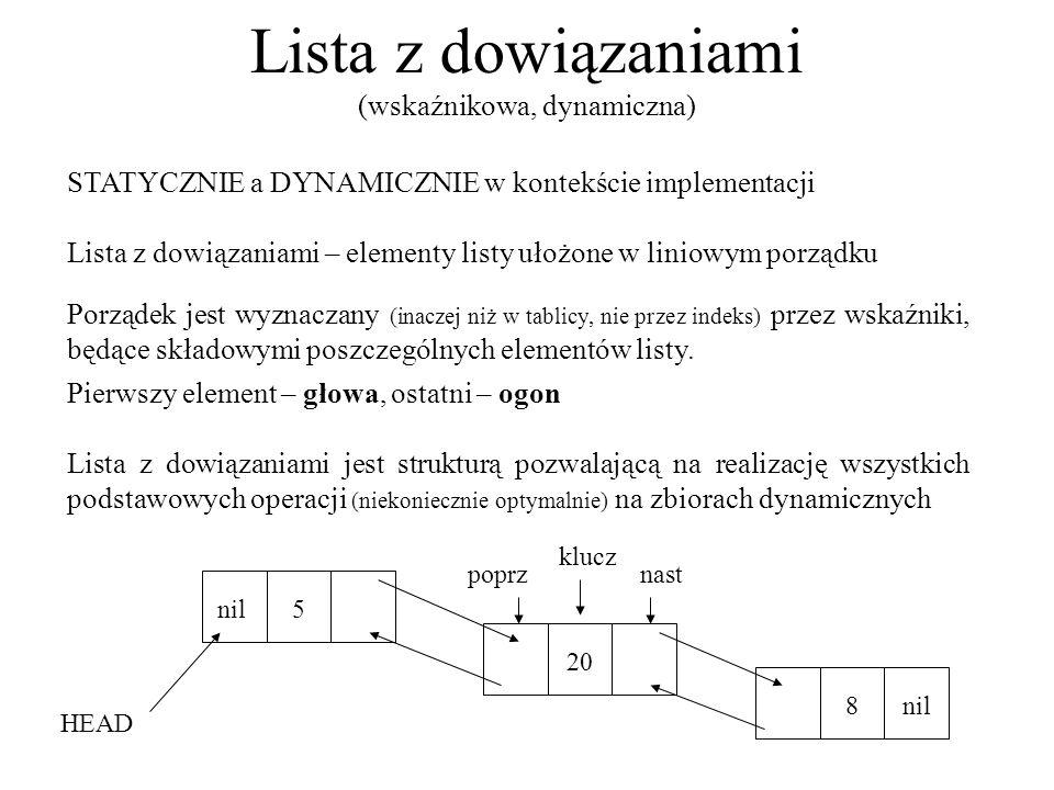Lista z dowiązaniami (wskaźnikowa, dynamiczna) STATYCZNIE a DYNAMICZNIE w kontekście implementacji Lista z dowiązaniami – elementy listy ułożone w lin