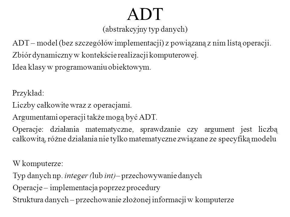 ADT (abstrakcyjny typ danych) W komputerze: Typ danych np. integer (lub int)– przechowywanie danych Operacje – implementacja poprzez procedury Struktu