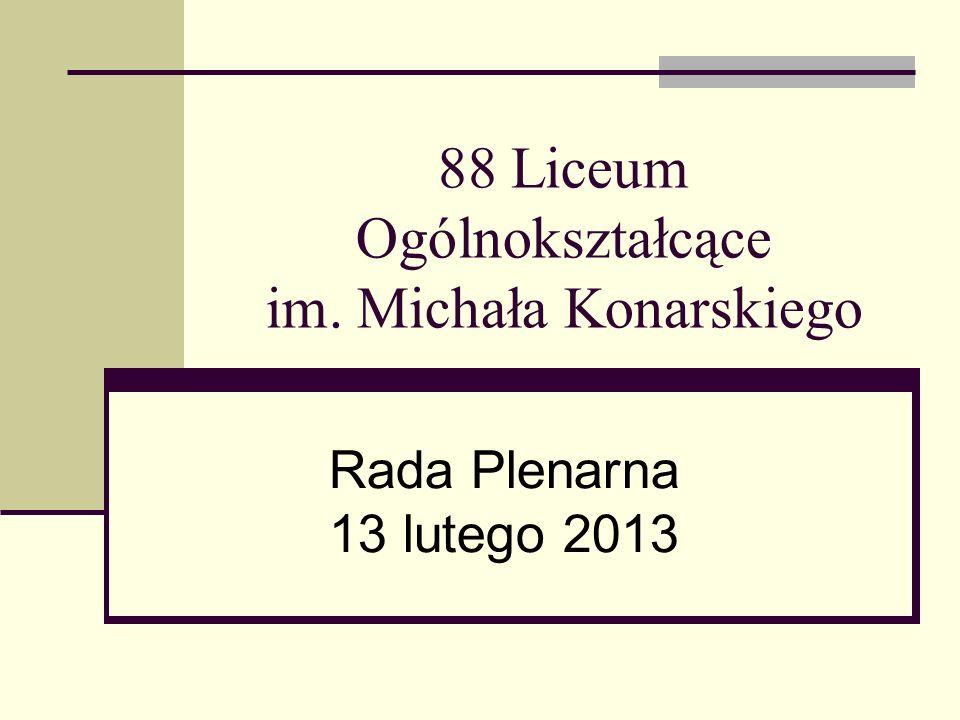 88 Liceum Ogólnokształcące im. Michała Konarskiego Rada Plenarna 13 lutego 2013