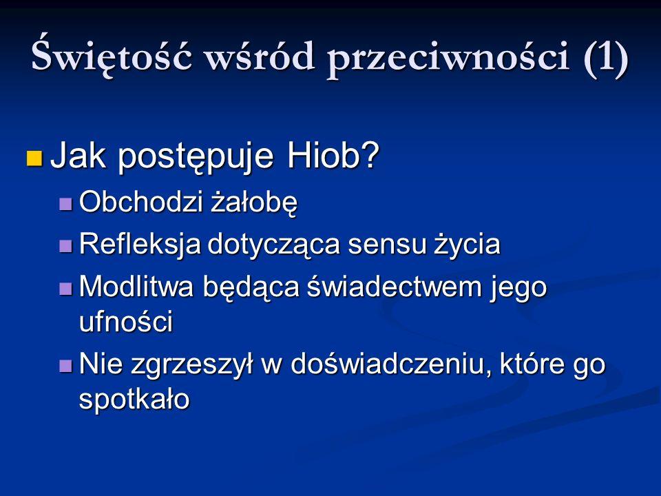 Świętość wśród przeciwności (1) Jak postępuje Hiob? Jak postępuje Hiob? Obchodzi żałobę Obchodzi żałobę Refleksja dotycząca sensu życia Refleksja doty