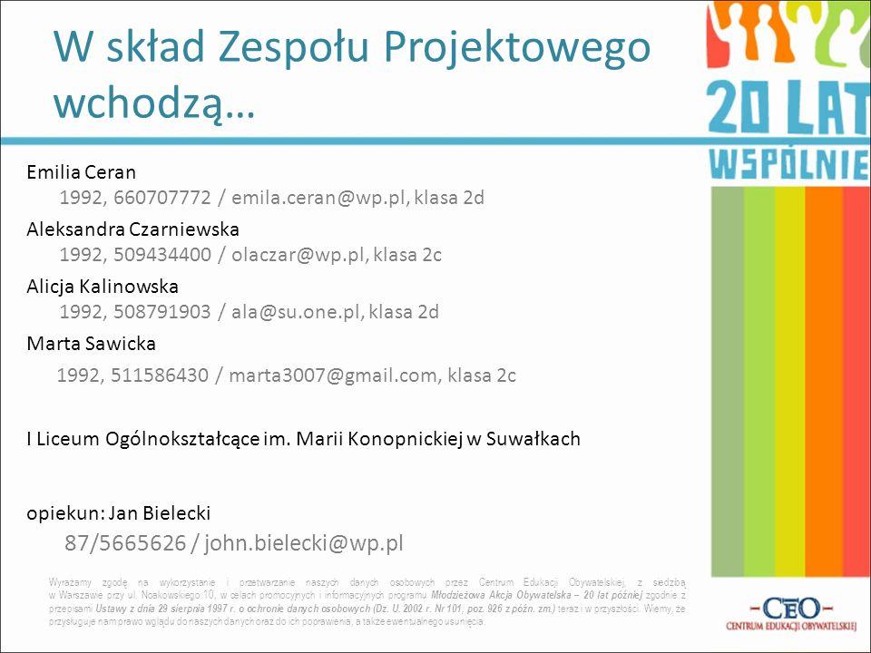 Emilia Ceran 1992, 660707772 / emila.ceran@wp.pl, klasa 2d Aleksandra Czarniewska 1992, 509434400 / olaczar@wp.pl, klasa 2c Alicja Kalinowska 1992, 50
