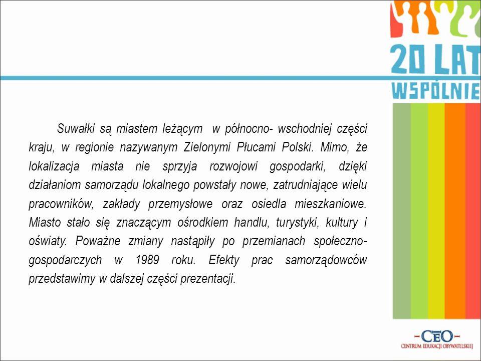 Suwałki są miastem leżącym w północno- wschodniej części kraju, w regionie nazywanym Zielonymi Płucami Polski. Mimo, że lokalizacja miasta nie sprzyja