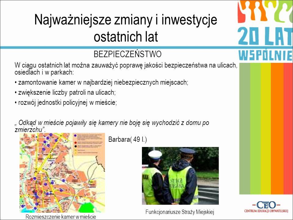 Najważniejsze zmiany i inwestycje ostatnich lat BEZPIECZEŃSTWO W ciągu ostatnich lat można zauważyć poprawę jakości bezpieczeństwa na ulicach, osiedla