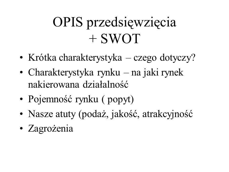 OPIS przedsięwzięcia + SWOT Krótka charakterystyka – czego dotyczy? Charakterystyka rynku – na jaki rynek nakierowana działalność Pojemność rynku ( po