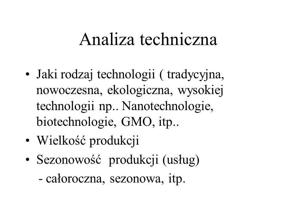 Analiza techniczna Jaki rodzaj technologii ( tradycyjna, nowoczesna, ekologiczna, wysokiej technologii np.. Nanotechnologie, biotechnologie, GMO, itp.