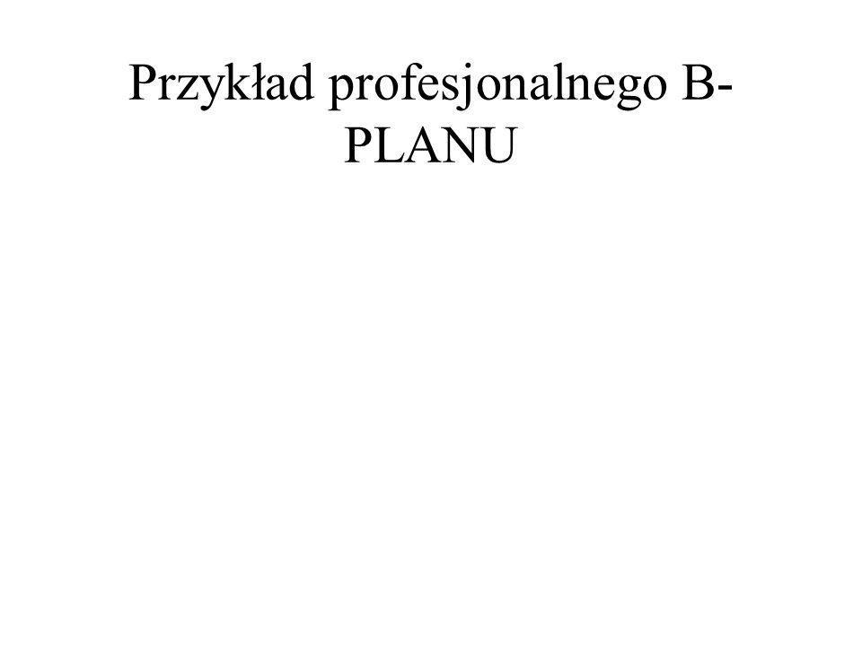 Przykład profesjonalnego B- PLANU