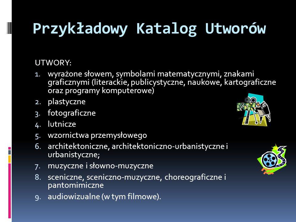 Przykładowy Katalog Utworów UTWORY: 1. wyrażone słowem, symbolami matematycznymi, znakami graficznymi (literackie, publicystyczne, naukowe, kartografi
