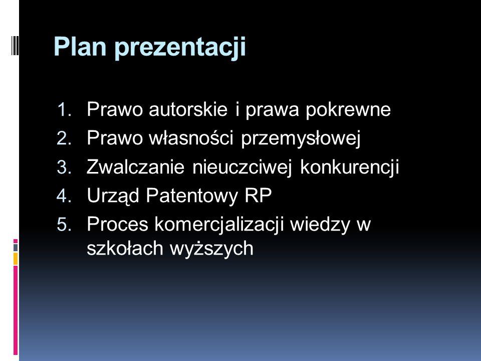Plan prezentacji 1. Prawo autorskie i prawa pokrewne 2. Prawo własności przemysłowej 3. Zwalczanie nieuczciwej konkurencji 4. Urząd Patentowy RP 5. Pr