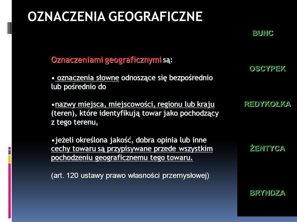 Oznaczeniami geograficznymi są: oznaczenia słowne odnoszące się bezpośrednio lub pośrednio do oznaczenia słowne odnoszące się bezpośrednio lub pośredn