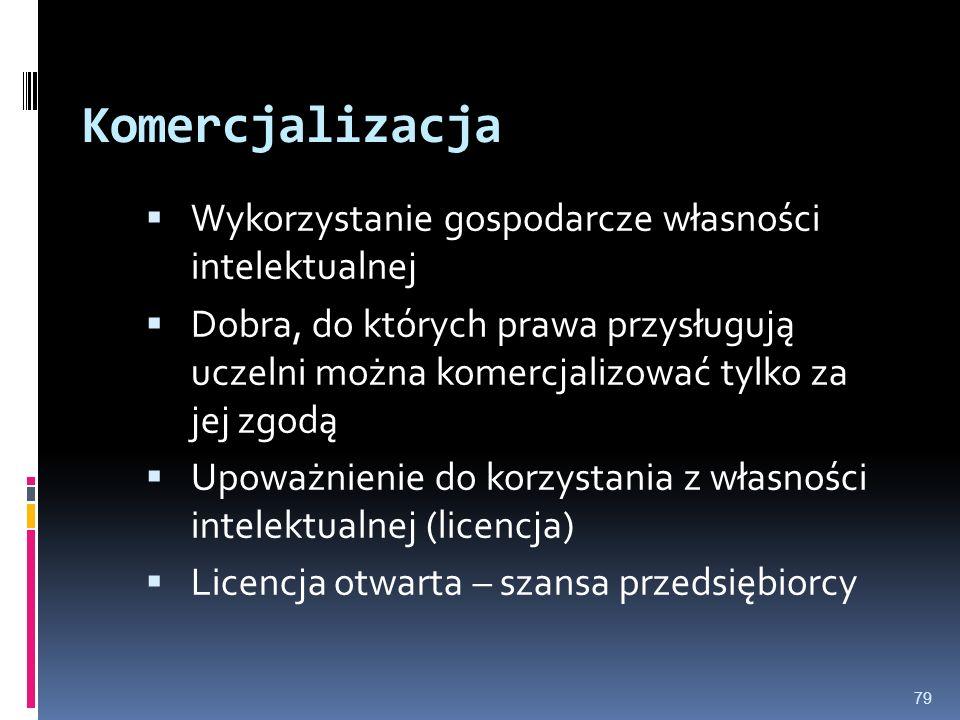 79 Komercjalizacja Wykorzystanie gospodarcze własności intelektualnej Dobra, do których prawa przysługują uczelni można komercjalizować tylko za jej z