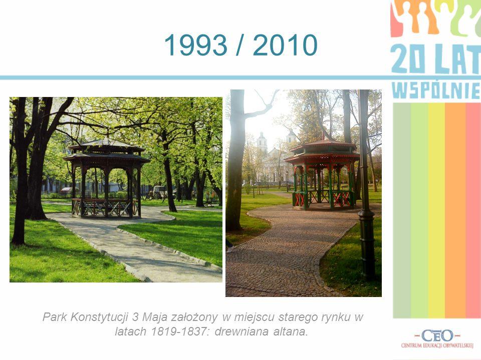1993 / 2010 Park Konstytucji 3 Maja założony w miejscu starego rynku w latach 1819-1837: drewniana altana.