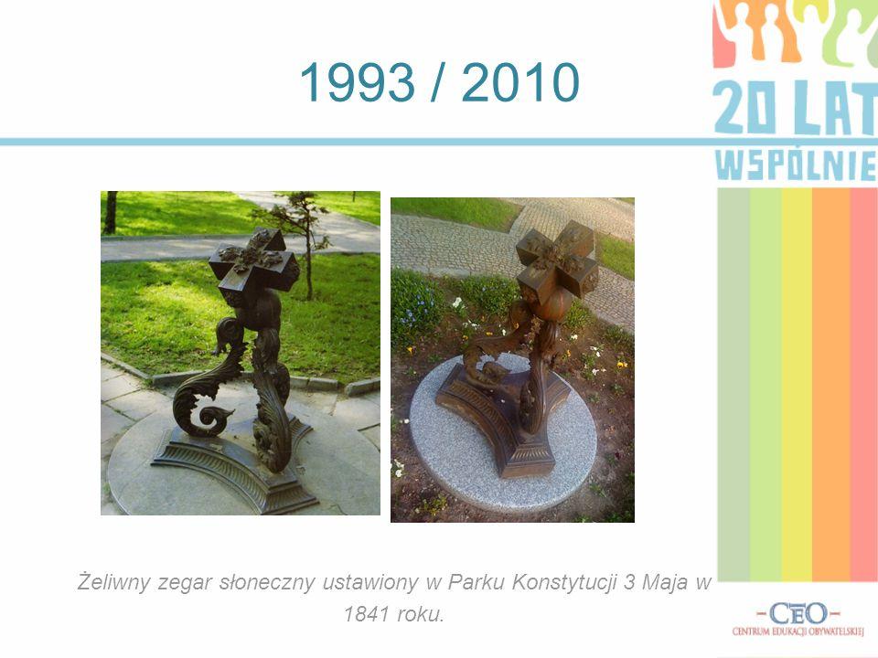 1993 / 2010 Żeliwny zegar słoneczny ustawiony w Parku Konstytucji 3 Maja w 1841 roku.