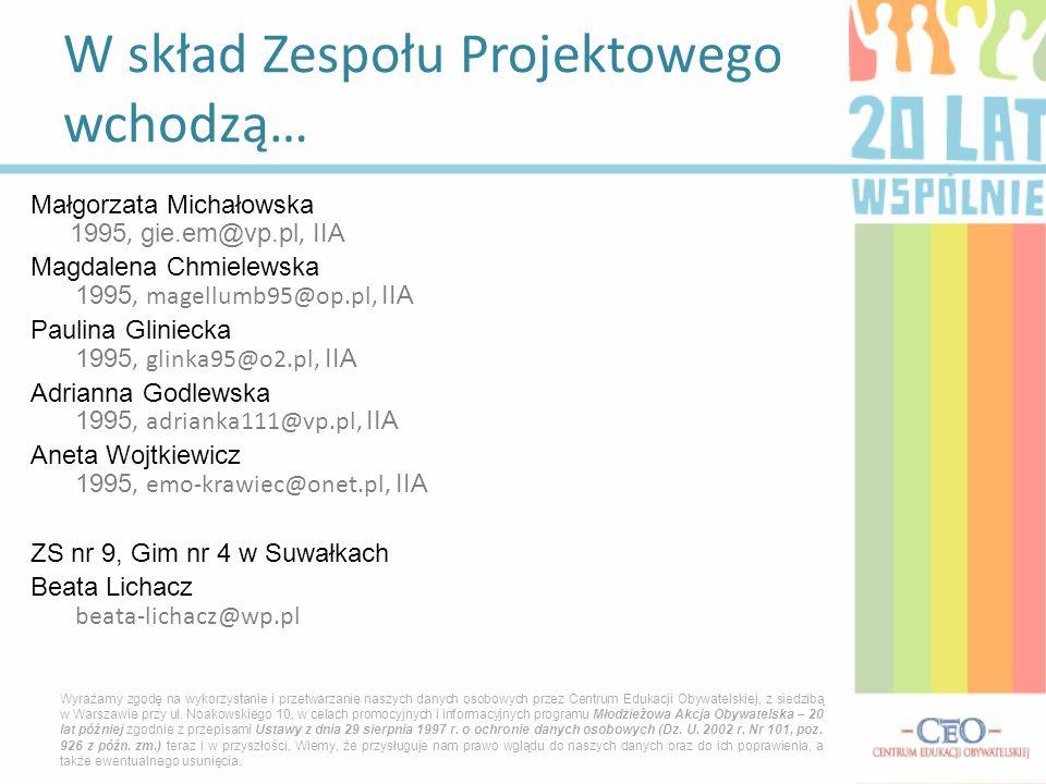 Małgorzata Michałowska 1995, gie.em@vp.pl, IIA Magdalena Chmielewska 1995, magellumb95@op.pl, IIA Paulina Gliniecka 1995, glinka95@o2.pl, IIA Adrianna