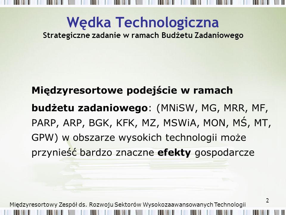 2 Wędka Technologiczna Strategiczne zadanie w ramach Budżetu Zadaniowego Międzyresortowe podejście w ramach budżetu zadaniowego: (MNiSW, MG, MRR, MF, PARP, ARP, BGK, KFK, MZ, MSWiA, MON, MŚ, MT, GPW) w obszarze wysokich technologii może przynieść bardzo znaczne efekty gospodarcze Międzyresortowy Zespół ds.