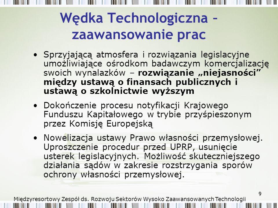 9 Wędka Technologiczna – zaawansowanie prac Sprzyjającą atmosfera i rozwiązania legislacyjne umożliwiające ośrodkom badawczym komercjalizację swoich wynalazków – rozwiązanie niejasności między ustawą o finansach publicznych i ustawą o szkolnictwie wyższym Dokończenie procesu notyfikacji Krajowego Funduszu Kapitałowego w trybie przyśpieszonym przez Komisję Europejską Nowelizacja ustawy Prawo własności przemysłowej.