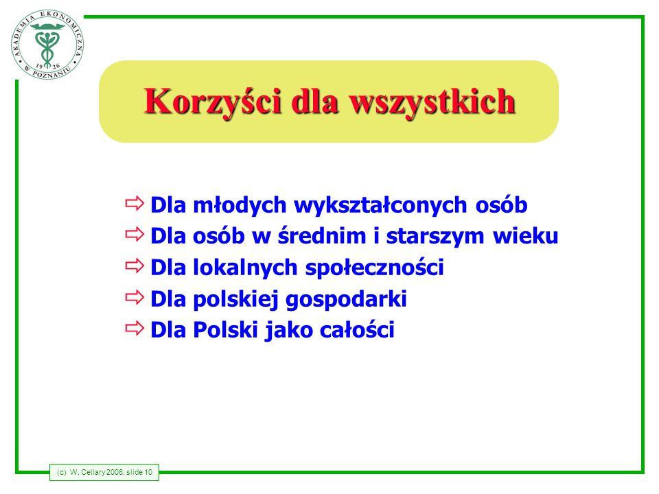 (c) W. Cellary 2006, slide 10 Korzyści dla wszystkich Dla młodych wykształconych osób Dla osób w średnim i starszym wieku Dla lokalnych społeczności D