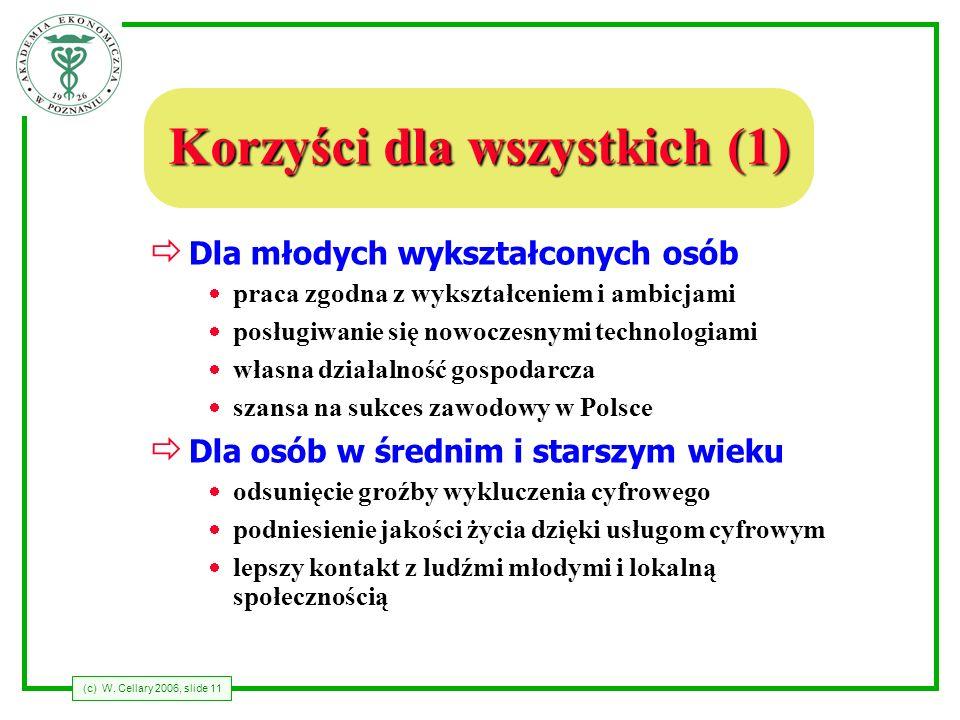 (c) W. Cellary 2006, slide 11 Korzyści dla wszystkich (1) Dla młodych wykształconych osób praca zgodna z wykształceniem i ambicjami posługiwanie się n