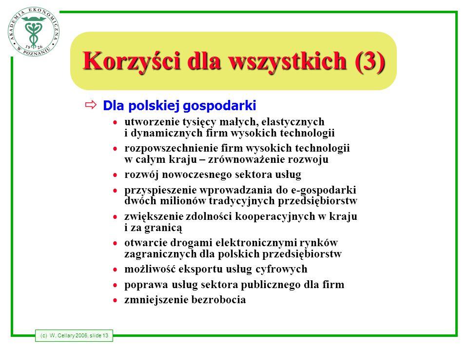 (c) W. Cellary 2006, slide 13 Korzyści dla wszystkich (3) Dla polskiej gospodarki utworzenie tysięcy małych, elastycznych i dynamicznych firm wysokich