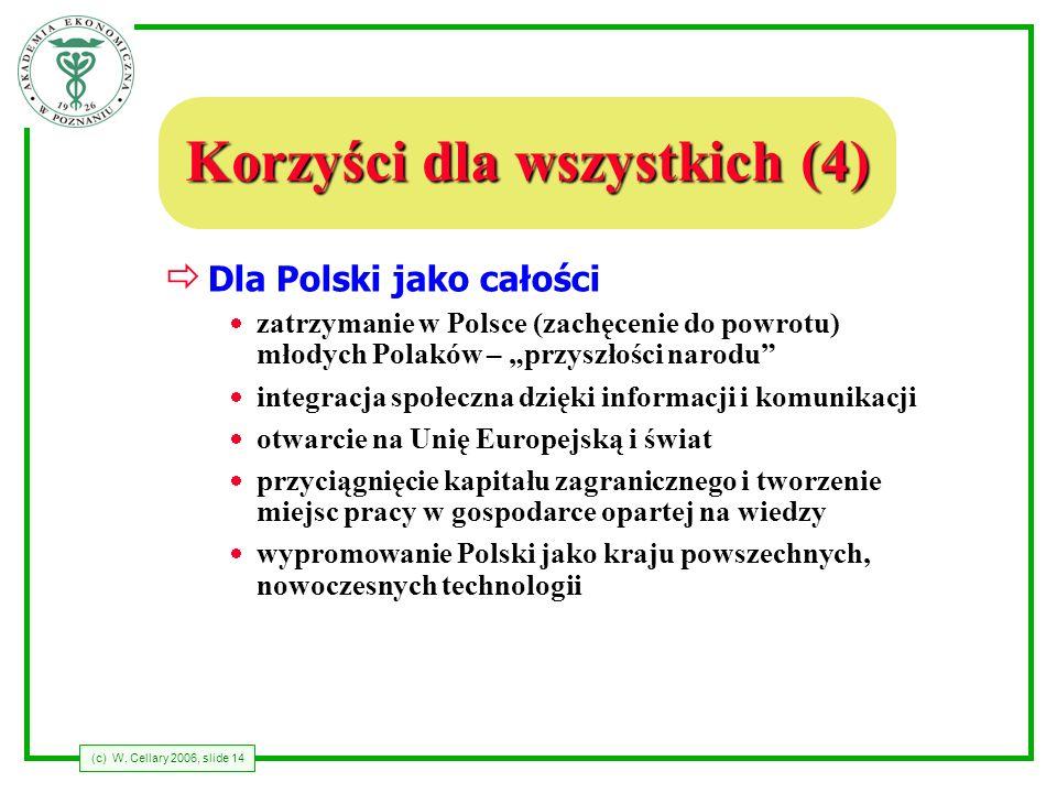 (c) W. Cellary 2006, slide 14 Korzyści dla wszystkich (4) Dla Polski jako całości zatrzymanie w Polsce (zachęcenie do powrotu) młodych Polaków – przys