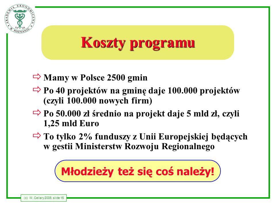 (c) W. Cellary 2006, slide 15 Koszty programu Mamy w Polsce 2500 gmin Po 40 projektów na gminę daje 100.000 projektów (czyli 100.000 nowych firm) Po 5