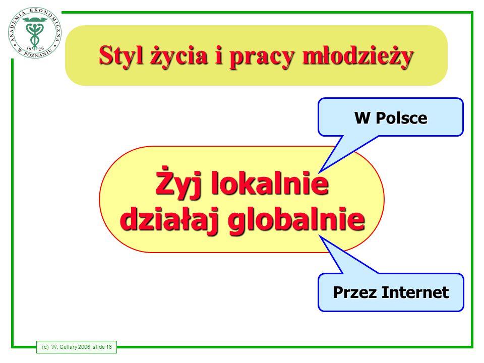 (c) W. Cellary 2006, slide 16 Żyj lokalnie działaj globalnie Styl życia i pracy młodzieży Przez Internet W Polsce