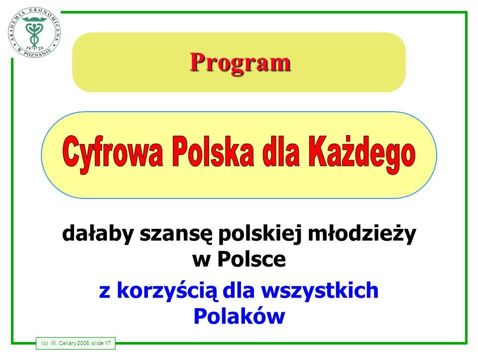 (c) W. Cellary 2006, slide 17 Program dałaby szansę polskiej młodzieży w Polsce z korzyścią dla wszystkich Polaków