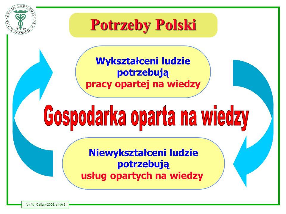 (c) W. Cellary 2006, slide 3 Potrzeby Polski Wykształceni ludzie potrzebują pracy opartej na wiedzy Niewykształceni ludzie potrzebują usług opartych n
