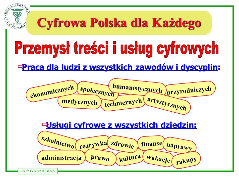 (c) W. Cellary 2006, slide 5 Cyfrowa Polska dla Każdego Usługi cyfrowe z wszystkich dziedzin: szkolnictwo rozrywka kultura finanse prawo zdrowie admin