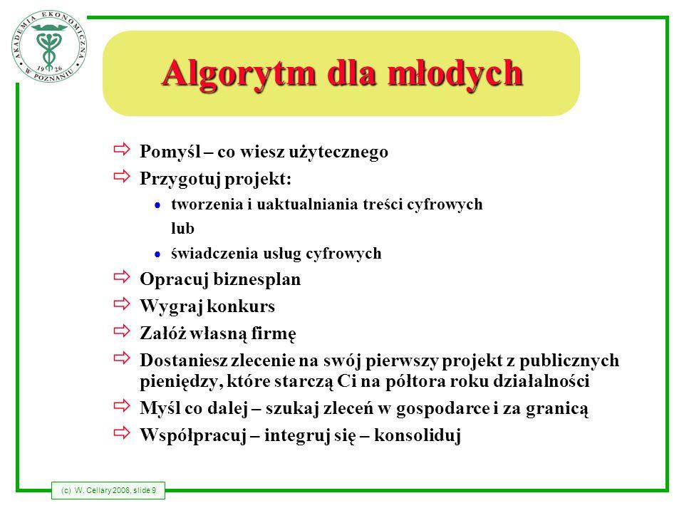 (c) W. Cellary 2006, slide 9 Algorytm dla młodych Pomyśl – co wiesz użytecznego Przygotuj projekt: tworzenia i uaktualniania treści cyfrowych lub świa