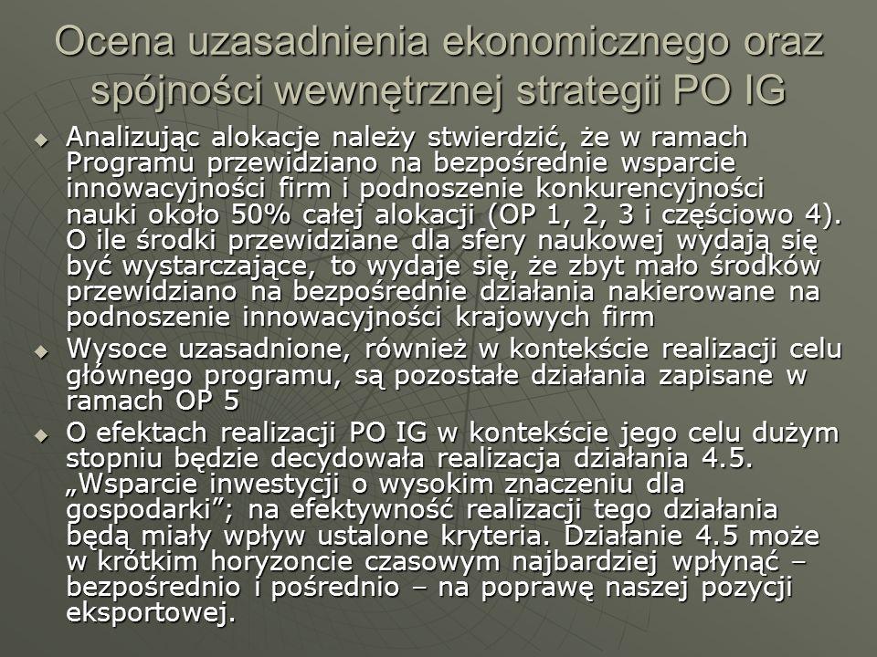 Ocena uzasadnienia ekonomicznego oraz spójności wewnętrznej strategii PO IG Analizując alokacje należy stwierdzić, że w ramach Programu przewidziano n