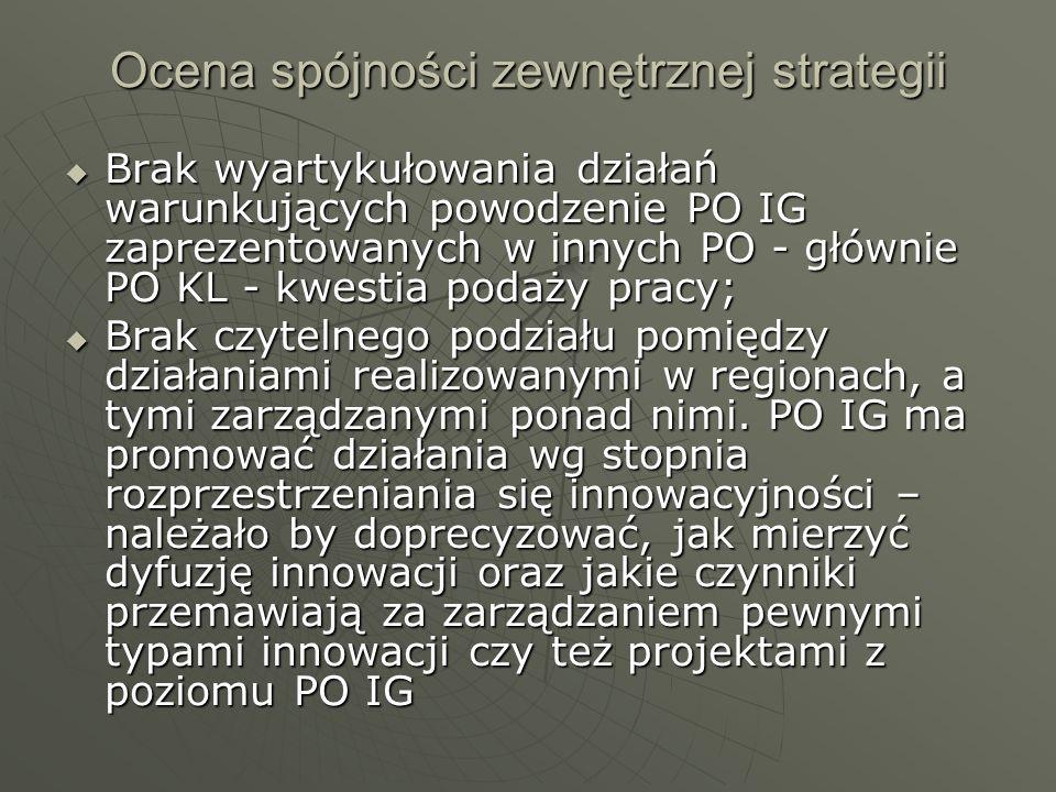 Ocena spójności zewnętrznej strategii Brak wyartykułowania działań warunkujących powodzenie PO IG zaprezentowanych w innych PO - głównie PO KL - kwest