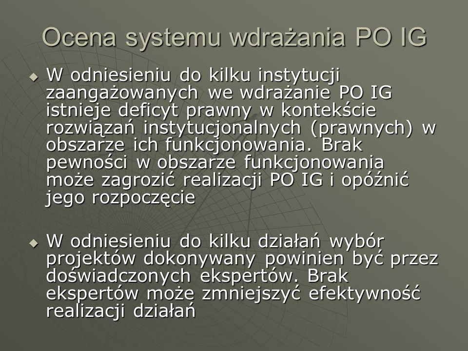 Ocena systemu wdrażania PO IG W odniesieniu do kilku instytucji zaangażowanych we wdrażanie PO IG istnieje deficyt prawny w kontekście rozwiązań instytucjonalnych (prawnych) w obszarze ich funkcjonowania.