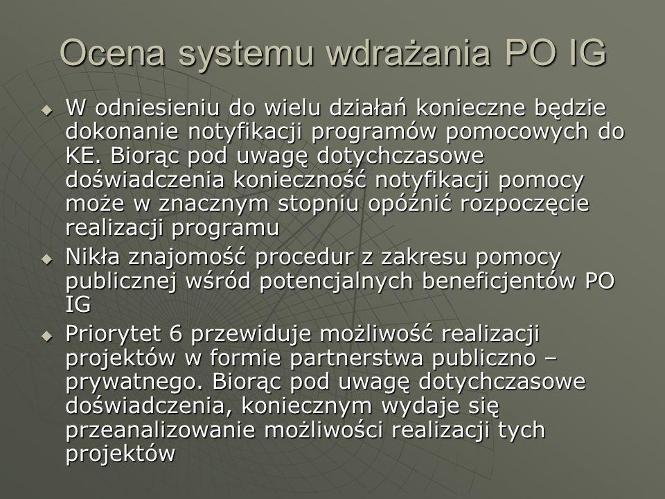Ocena systemu wdrażania PO IG W odniesieniu do wielu działań konieczne będzie dokonanie notyfikacji programów pomocowych do KE. Biorąc pod uwagę dotyc