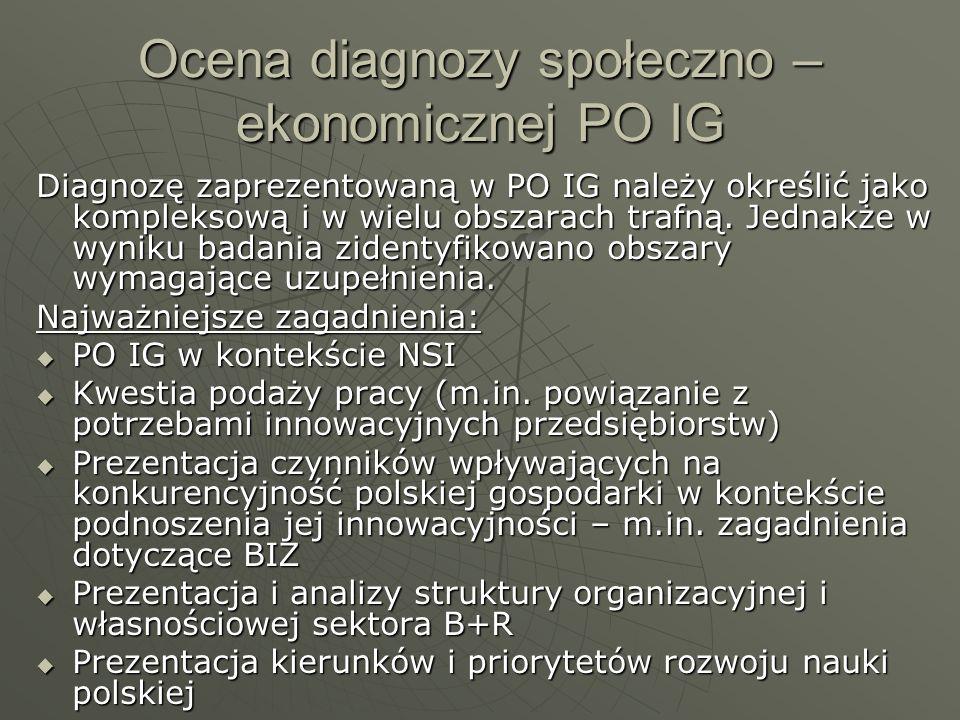 Ocena trafności wybranych w Programie obszarów interwencji w kontekście analizy SWOT i sytuacji społeczno – ekonomicznej działania w ramach OP 1 - Badania i rozwój nowoczesnych technologii, OP 2 - Infrastruktura sfery B+R, OP 3 - Kapitał dla innowacji oraz OP 5 – Dyfuzja innowacji, zostały trafnie zdefiniowane działania w ramach OP 1 - Badania i rozwój nowoczesnych technologii, OP 2 - Infrastruktura sfery B+R, OP 3 - Kapitał dla innowacji oraz OP 5 – Dyfuzja innowacji, zostały trafnie zdefiniowane W przypadku OP 6, działania promocja turystycznych walorów Polski oraz inwestycje w produkty turystyczne o znaczeniu ponadregionalnym nie znalazły odzwierciedlenia w analizie SWOT, a w diagnozie zostały jednie zasygnalizowane W przypadku OP 6, działania promocja turystycznych walorów Polski oraz inwestycje w produkty turystyczne o znaczeniu ponadregionalnym nie znalazły odzwierciedlenia w analizie SWOT, a w diagnozie zostały jednie zasygnalizowane OP 7 nie znalazł odzwierciedlenia w analizie SWOT OP 7 nie znalazł odzwierciedlenia w analizie SWOT