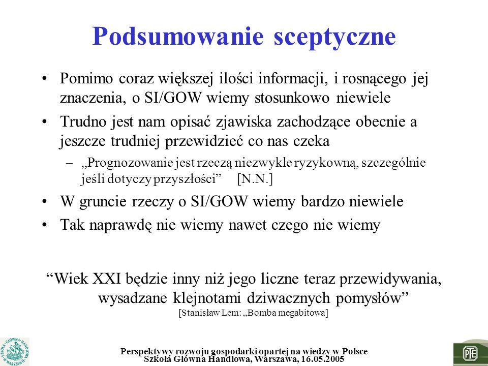 Perspektywy rozwoju gospodarki opartej na wiedzy w Polsce Szkoła Główna Handlowa, Warszawa, 16.05.2005 Podsumowanie sceptyczne Pomimo coraz większej i