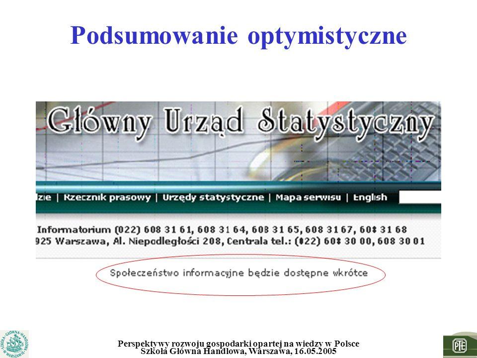 Perspektywy rozwoju gospodarki opartej na wiedzy w Polsce Szkoła Główna Handlowa, Warszawa, 16.05.2005 Podsumowanie optymistyczne