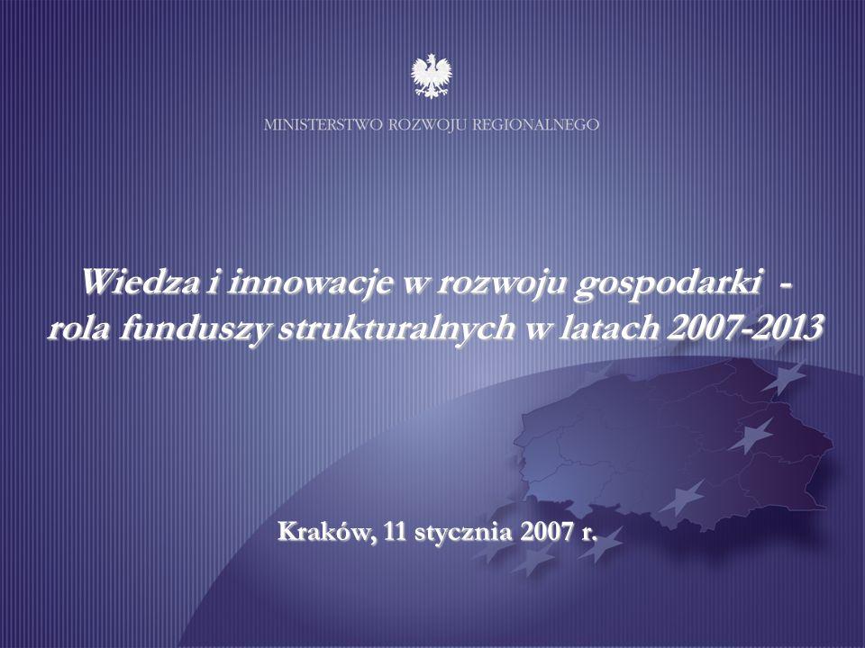 Wiedza i innowacje w rozwoju gospodarki - rola funduszy strukturalnych w latach 2007-2013 Kraków, 11 stycznia 2007 r.