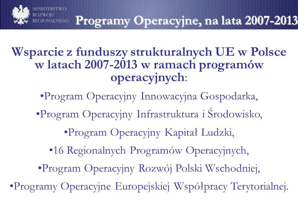 Programy Operacyjne, na lata 2007-2013 Wsparcie z funduszy strukturalnych UE w Polsce w latach 2007-2013 w ramach programów operacyjnych: Program Oper