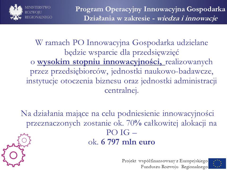 Wsparcie dla MSP (2) W ramach PO Innowacyjna Gospodarka udzielane będzie wsparcie dla przedsięwzięć o wysokim stopniu innowacyjności, realizowanych pr