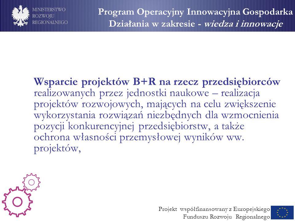 Wsparcie dla MSP (2) Wsparcie projektów B+R na rzecz przedsiębiorców realizowanych przez jednostki naukowe – realizacja projektów rozwojowych, mającyc