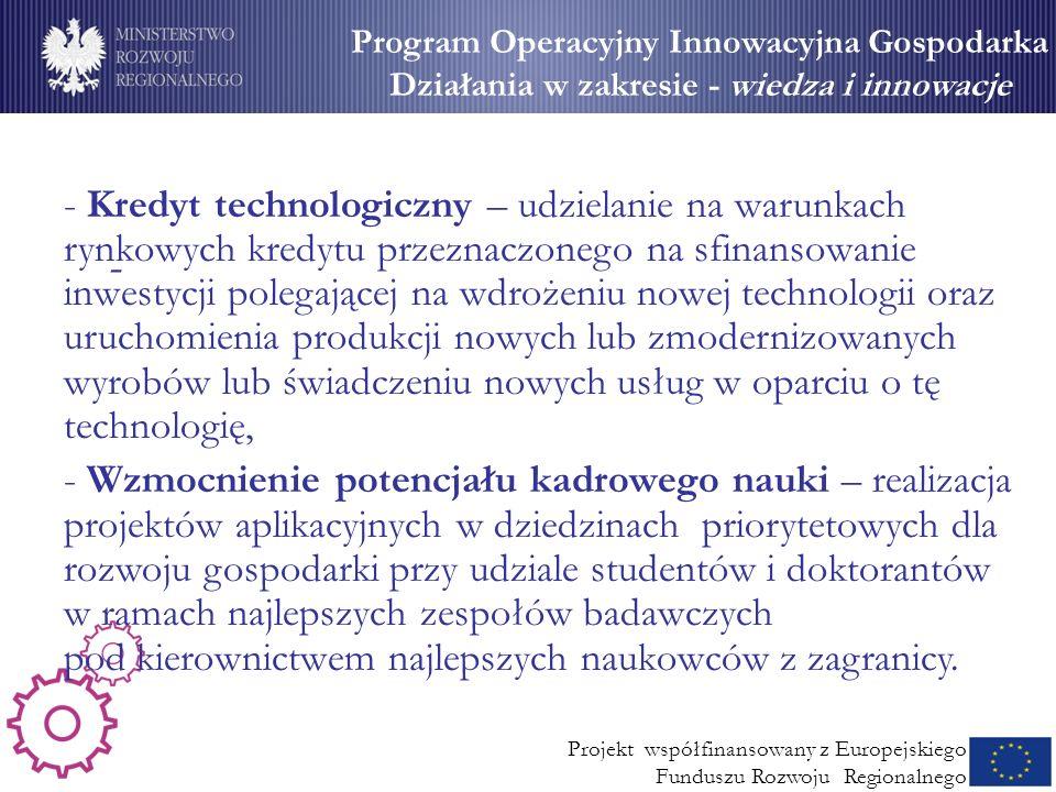 Wsparcie dla MSP (2) - Program Operacyjny Innowacyjna Gospodarka Działania w zakresie - wiedza i innowacje Projekt współfinansowany z Europejskiego Fu
