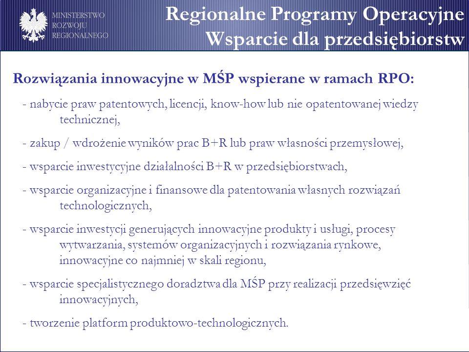 Rozwiązania innowacyjne w MŚP wspierane w ramach RPO: - nabycie praw patentowych, licencji, know-how lub nie opatentowanej wiedzy technicznej, - zakup