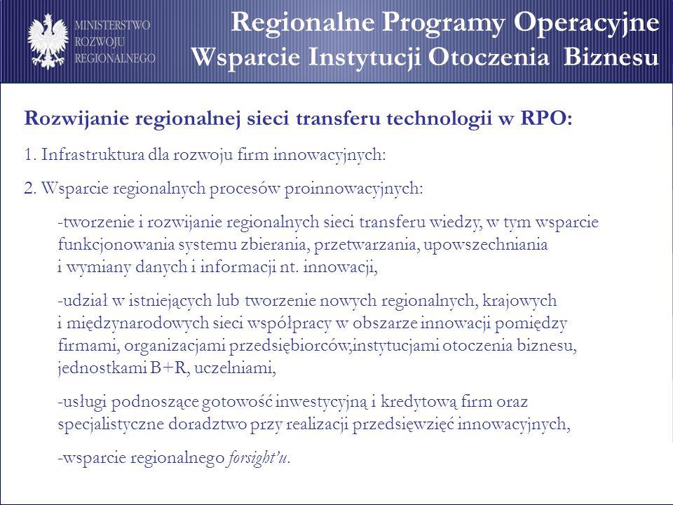 Rozwijanie regionalnej sieci transferu technologii w RPO: 1. Infrastruktura dla rozwoju firm innowacyjnych: 2. Wsparcie regionalnych procesów proinnow