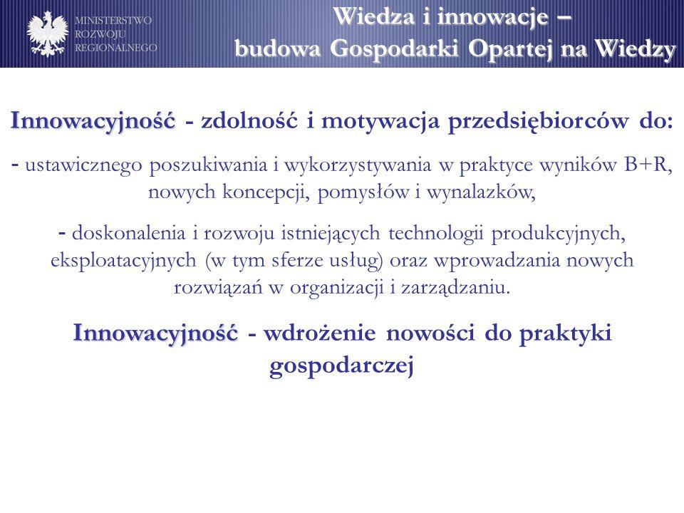 Wiedza i innowacje – budowa Gospodarki Opartej na Wiedzy Innowacyjność Innowacyjność - zdolność i motywacja przedsiębiorców do: - ustawicznego poszuki