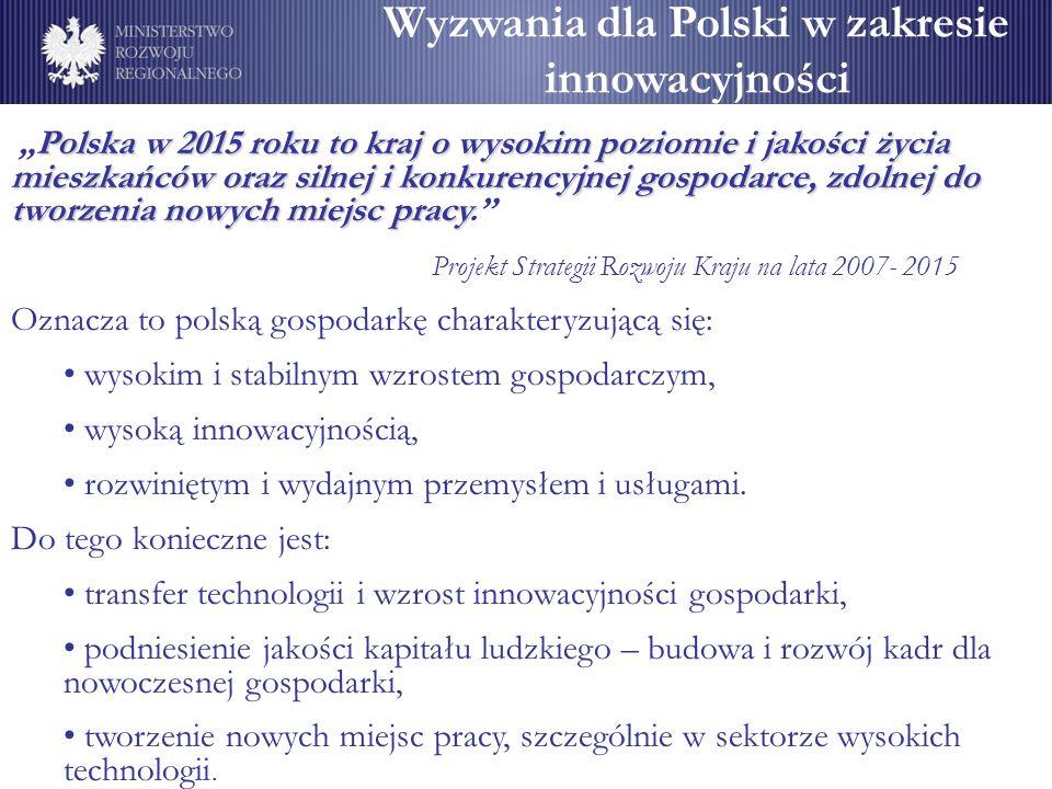 Wyzwania dla Polski w zakresie innowacyjności Polska w 2015 roku to kraj o wysokim poziomie i jakości życia mieszkańców oraz silnej i konkurencyjnej g