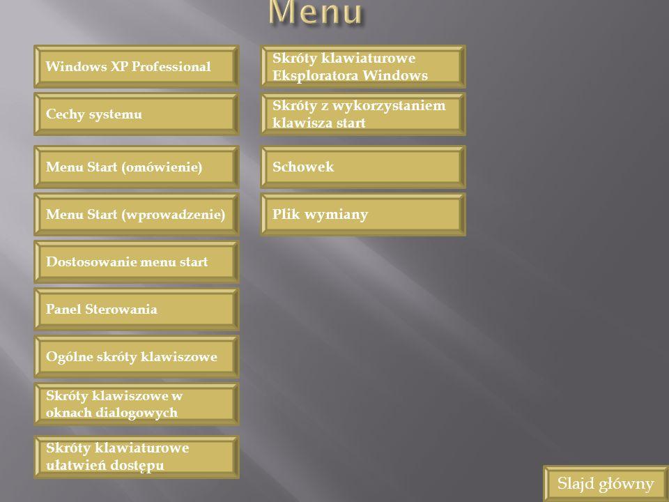 Slajd główny Menu Start (omówienie) Menu Start (wprowadzenie) Dostosowanie menu start Panel Sterowania Ogólne skróty klawiszowe Skróty klawiszowe w ok