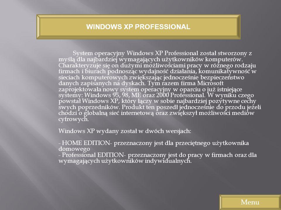 System operacyjny Windows XP Professional został stworzony z myślą dla najbardziej wymagających użytkowników komputerów. Charakteryzuje się on dużymi