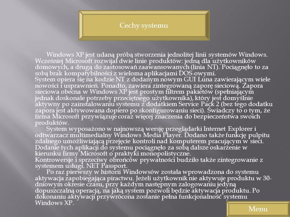Windows XP jest udaną próbą stworzenia jednolitej linii systemów Windows. Wcześniej Microsoft rozwijał dwie linie produktów: jedną dla użytkowników do